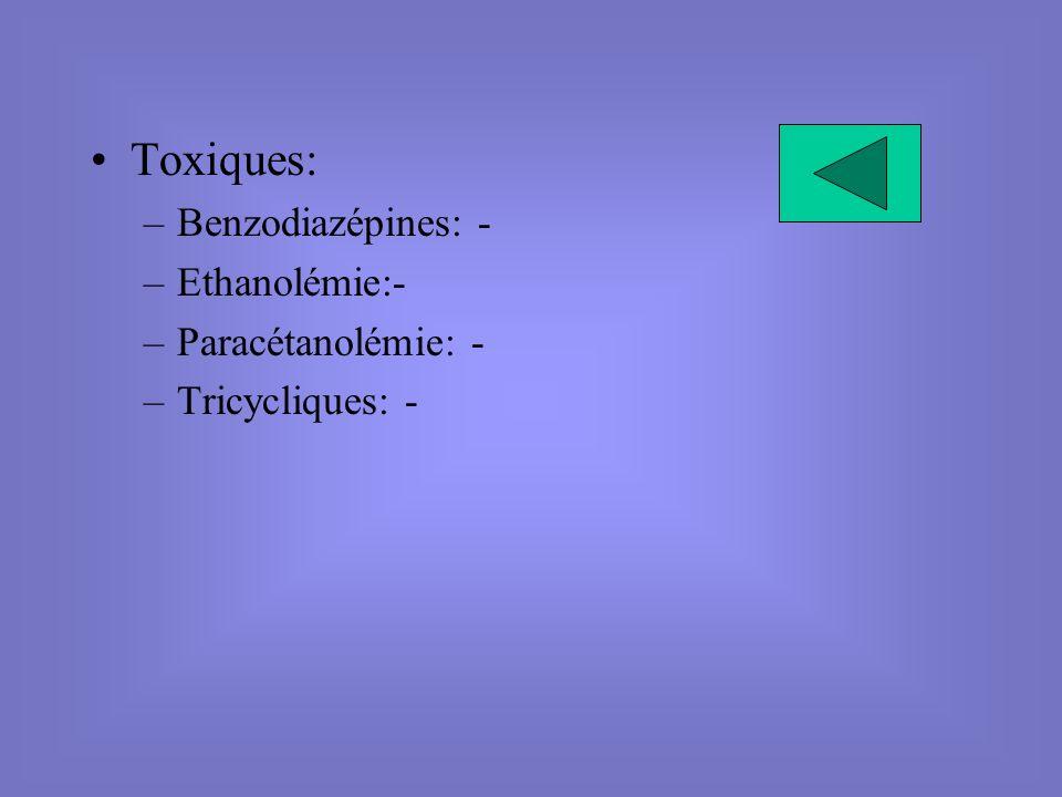 Toxiques: –Benzodiazépines: - –Ethanolémie:- –Paracétanolémie: - –Tricycliques: -