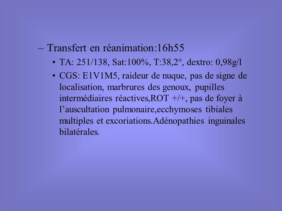 –Transfert en réanimation:16h55 TA: 251/138, Sat:100%, T:38,2°, dextro: 0,98g/l CGS: E1V1M5, raideur de nuque, pas de signe de localisation, marbrures