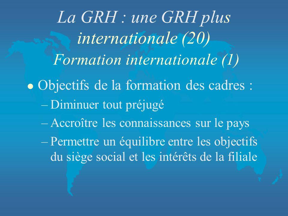 La GRH : une GRH plus internationale (20) Formation internationale (1) l Objectifs de la formation des cadres : –Diminuer tout préjugé –Accroître les