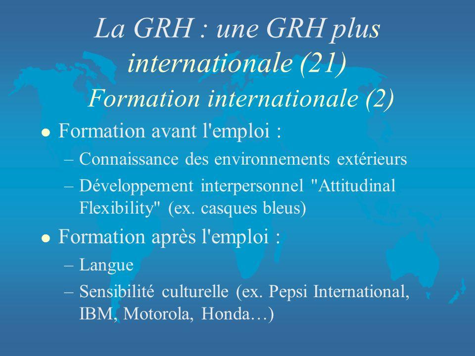 La GRH : une GRH plus internationale (21) Formation internationale (2) l Formation avant l'emploi : –Connaissance des environnements extérieurs –Dével
