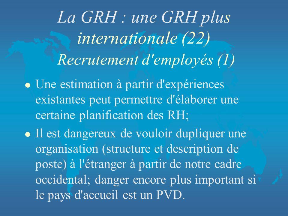 La GRH : une GRH plus internationale (22) Recrutement d'employés (1) l Une estimation à partir d'expériences existantes peut permettre d'élaborer une
