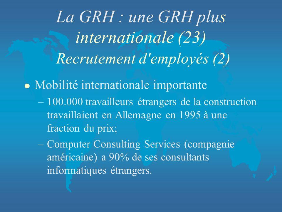La GRH : une GRH plus internationale (23) Recrutement d'employés (2) l Mobilité internationale importante –100.000 travailleurs étrangers de la constr