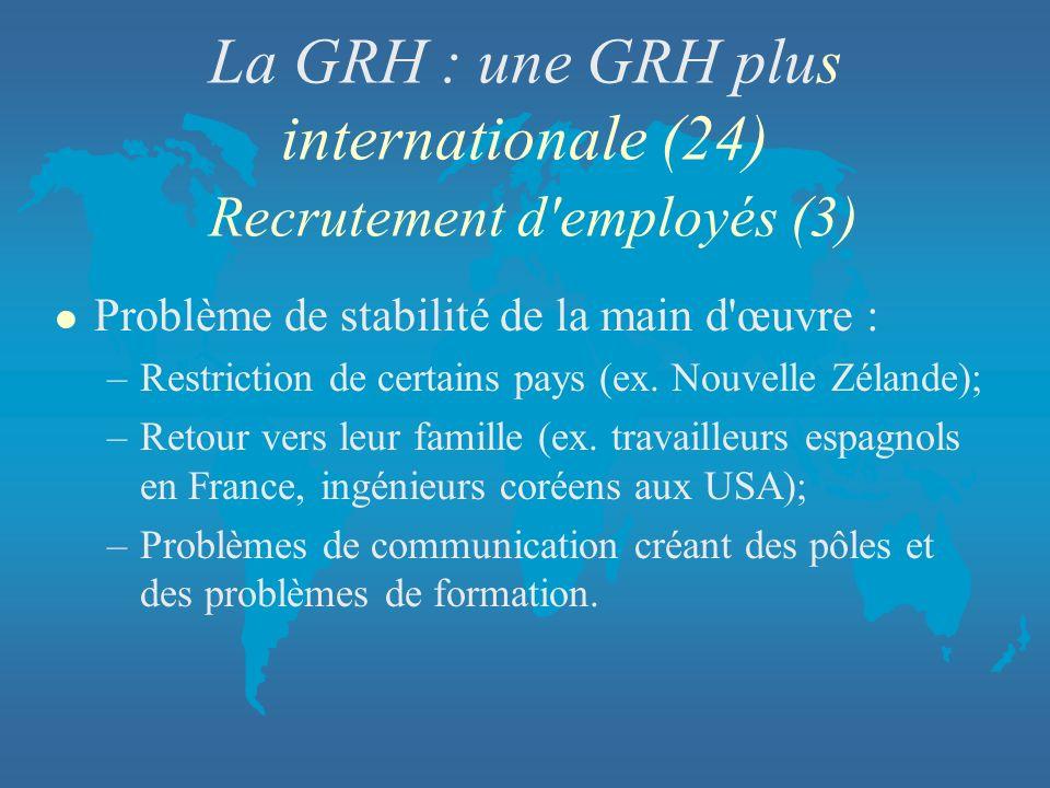 La GRH : une GRH plus internationale (24) Recrutement d'employés (3) l Problème de stabilité de la main d'œuvre : –Restriction de certains pays (ex. N