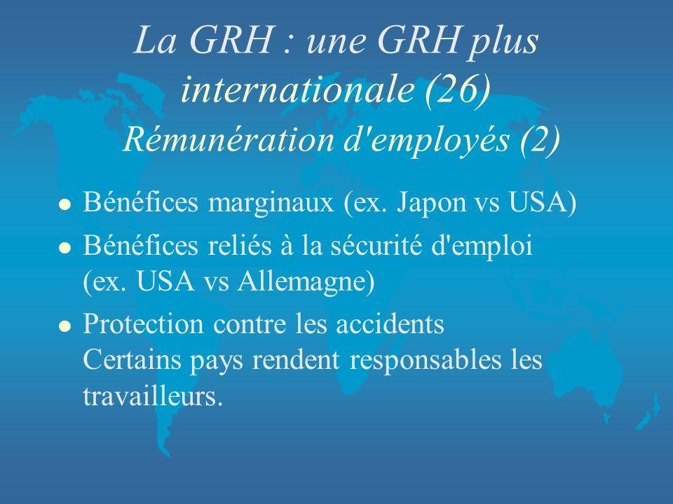 La GRH : une GRH plus internationale (26) Rémunération d'employés (2) l Bénéfices marginaux (ex. Japon vs USA) l Bénéfices reliés à la sécurité d'empl