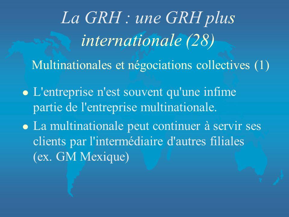 La GRH : une GRH plus internationale (28) Multinationales et négociations collectives (1) l L'entreprise n'est souvent qu'une infime partie de l'entre