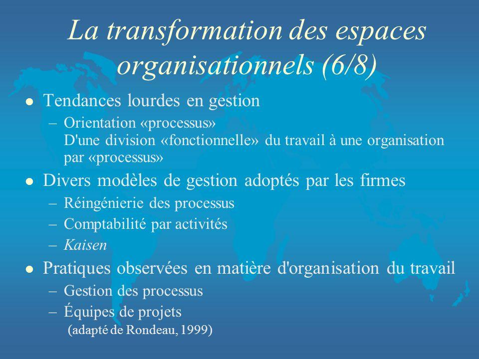 La transformation des espaces organisationnels (6/8) l Tendances lourdes en gestion –Orientation «processus» D'une division «fonctionnelle» du travail