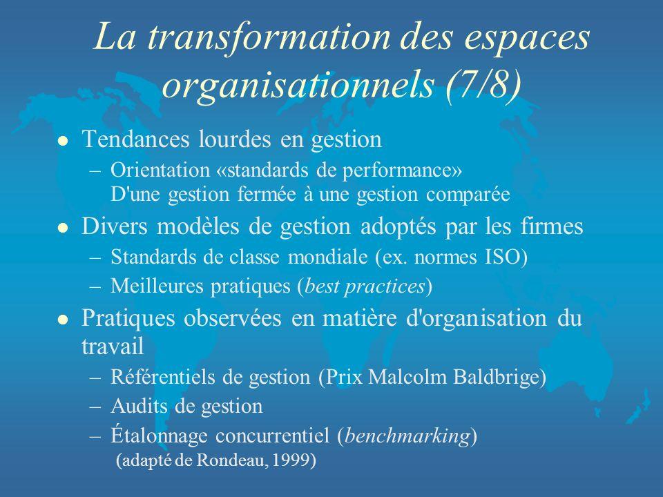 La transformation des espaces organisationnels (7/8) l Tendances lourdes en gestion –Orientation «standards de performance» D'une gestion fermée à une