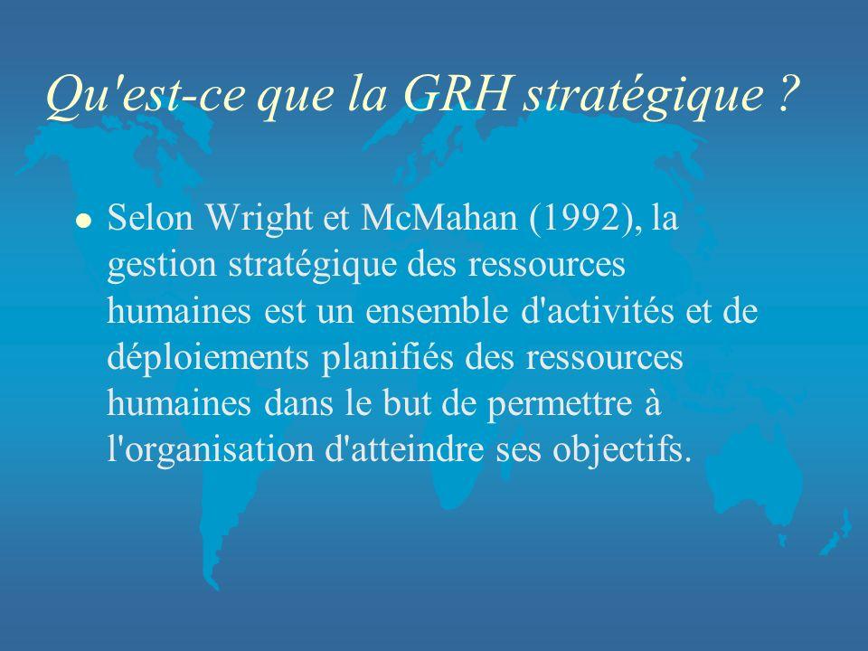 Qu'est-ce que la GRH stratégique ? l Selon Wright et McMahan (1992), la gestion stratégique des ressources humaines est un ensemble d'activités et de