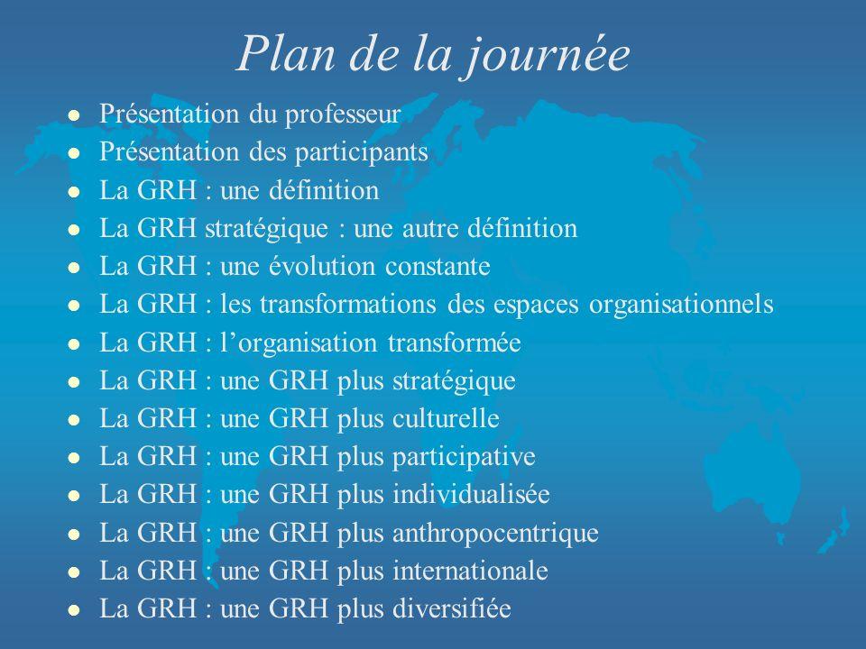 Plan de la journée l Présentation du professeur l Présentation des participants l La GRH : une définition l La GRH stratégique : une autre définition