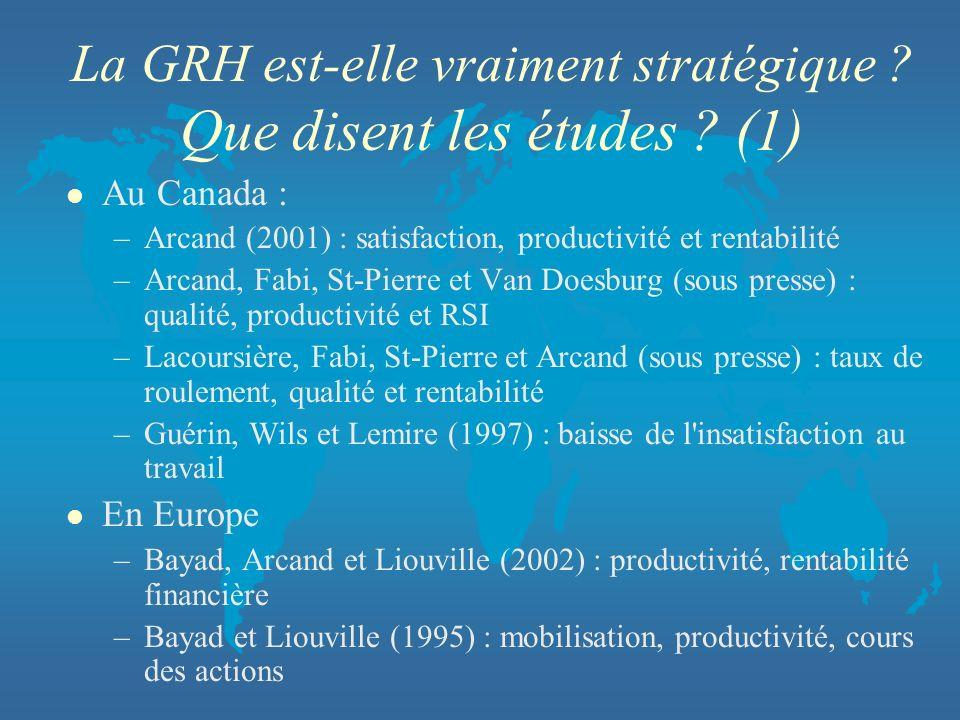 La GRH est-elle vraiment stratégique ? Que disent les études ? (1) l Au Canada : –Arcand (2001) : satisfaction, productivité et rentabilité –Arcand, F