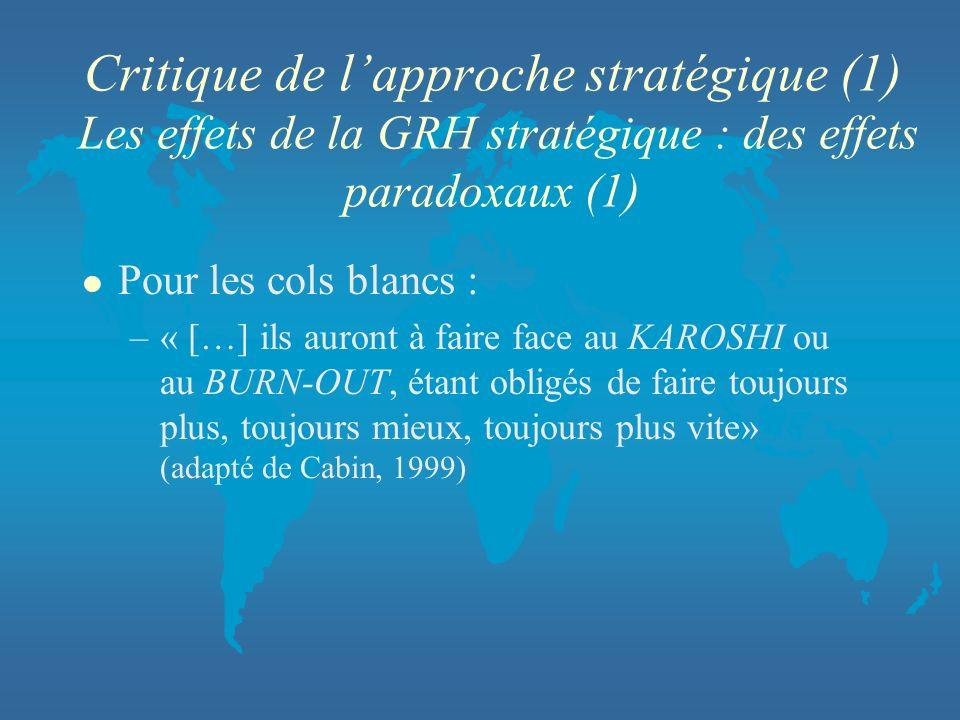 Critique de lapproche stratégique (1) Les effets de la GRH stratégique : des effets paradoxaux (1) l Pour les cols blancs : –« […] ils auront à faire