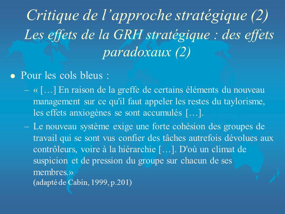 Critique de lapproche stratégique (2) Les effets de la GRH stratégique : des effets paradoxaux (2) l Pour les cols bleus : –« […] En raison de la gref