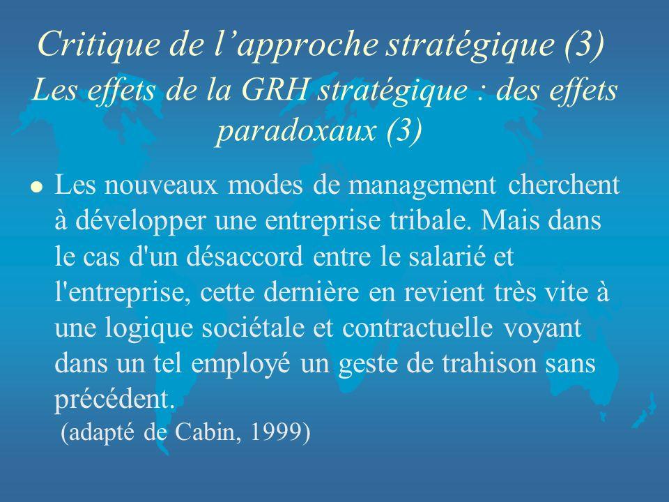Critique de lapproche stratégique (3) Les effets de la GRH stratégique : des effets paradoxaux (3) l Les nouveaux modes de management cherchent à déve
