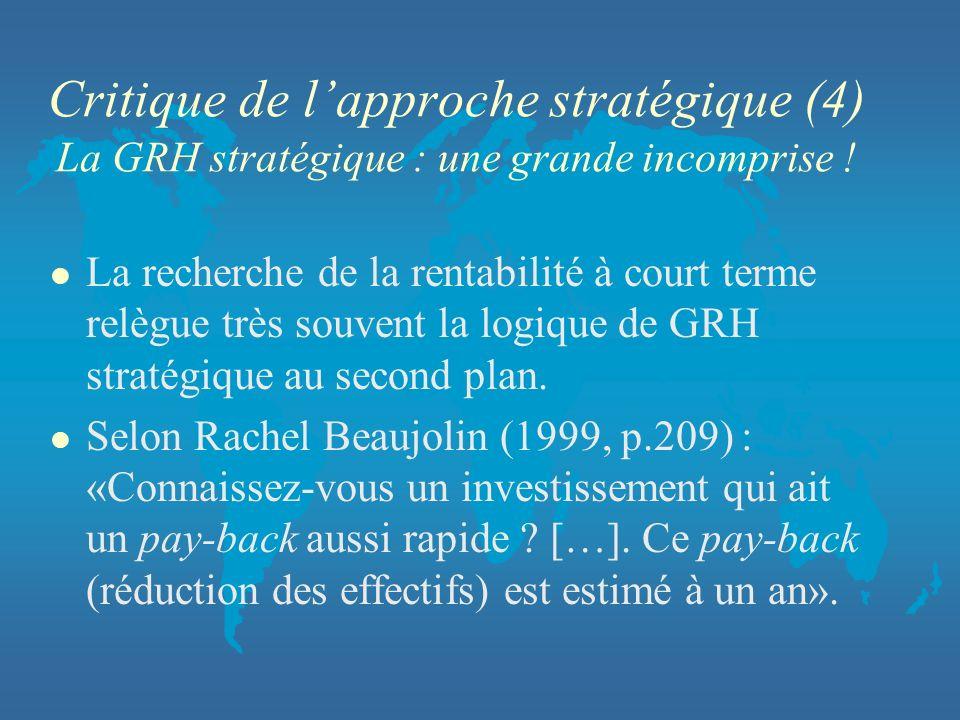Critique de lapproche stratégique (4) La GRH stratégique : une grande incomprise ! l La recherche de la rentabilité à court terme relègue très souvent