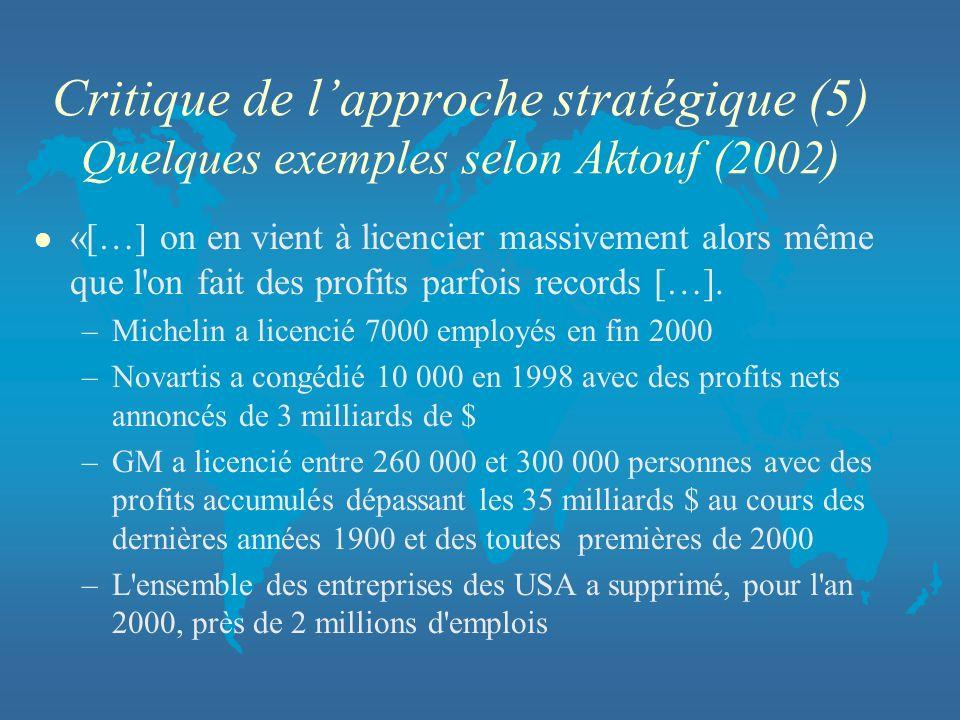 Critique de lapproche stratégique (5) Quelques exemples selon Aktouf (2002) l «[…] on en vient à licencier massivement alors même que l'on fait des pr