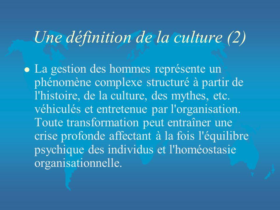 Une définition de la culture (2) l La gestion des hommes représente un phénomène complexe structuré à partir de l'histoire, de la culture, des mythes,
