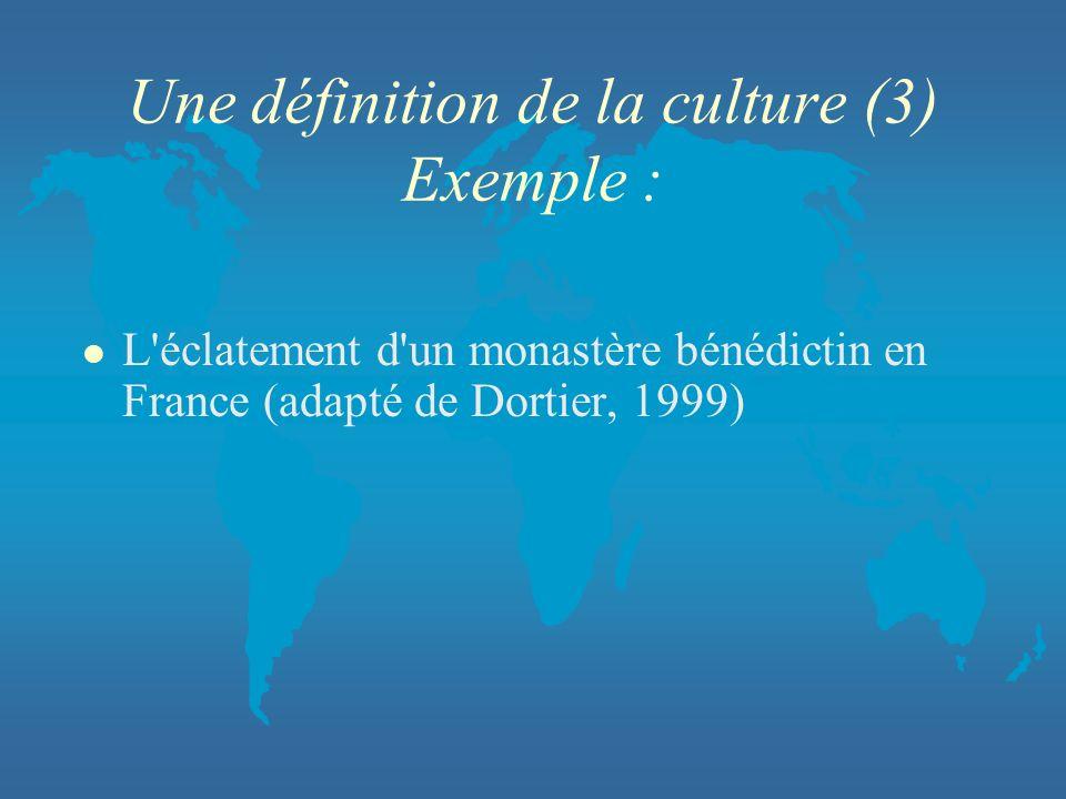 Une définition de la culture (3) Exemple : l L'éclatement d'un monastère bénédictin en France (adapté de Dortier, 1999)