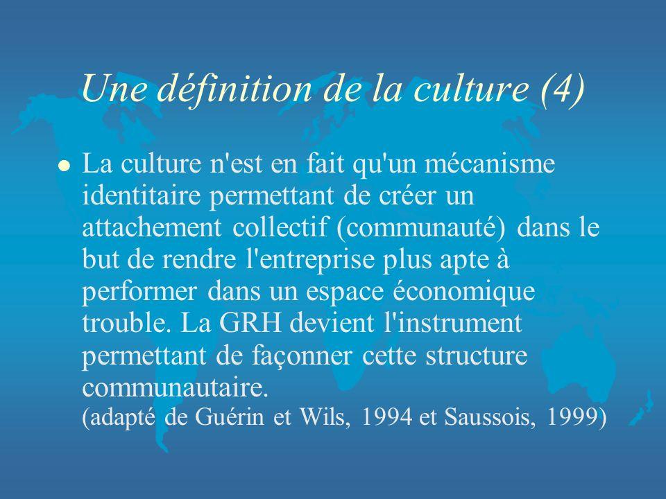 Une définition de la culture (4) l La culture n'est en fait qu'un mécanisme identitaire permettant de créer un attachement collectif (communauté) dans