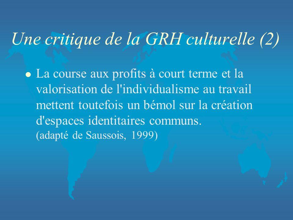 Une critique de la GRH culturelle (2) l La course aux profits à court terme et la valorisation de l'individualisme au travail mettent toutefois un bém