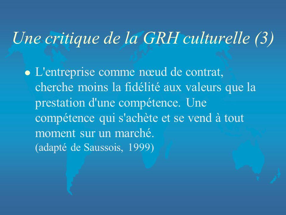 Une critique de la GRH culturelle (3) l L'entreprise comme nœud de contrat, cherche moins la fidélité aux valeurs que la prestation d'une compétence.