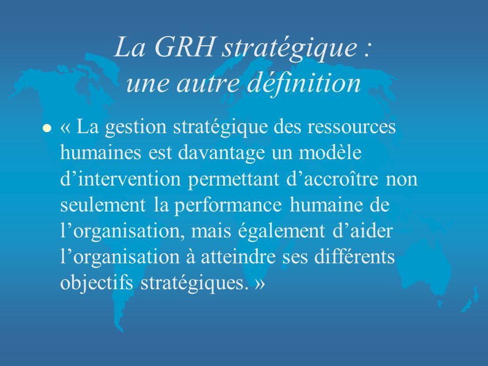 La GRH stratégique : une autre définition l « La gestion stratégique des ressources humaines est davantage un modèle dintervention permettant daccroît