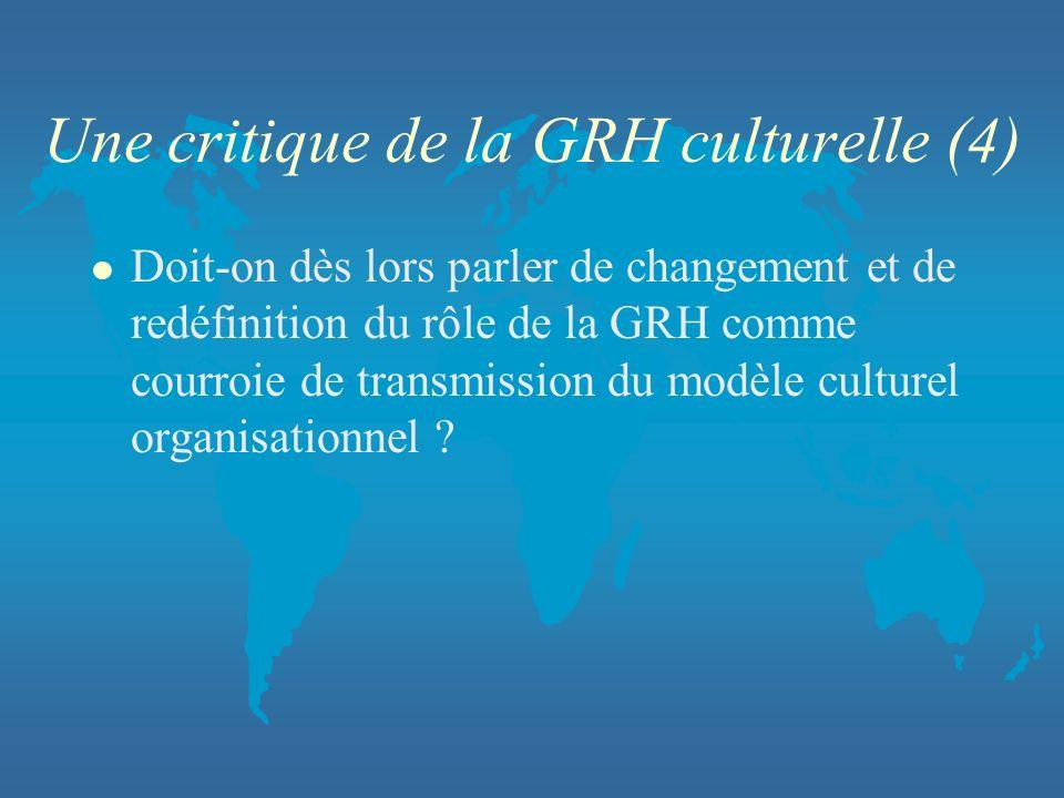 Une critique de la GRH culturelle (4) l Doit-on dès lors parler de changement et de redéfinition du rôle de la GRH comme courroie de transmission du m