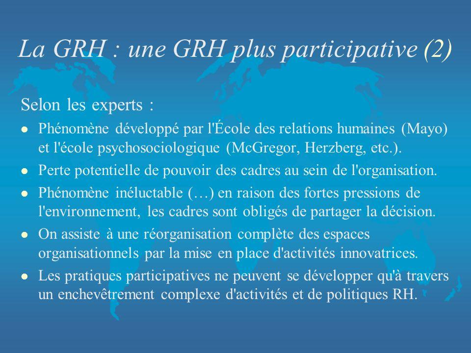 La GRH : une GRH plus participative (2) Selon les experts : l Phénomène développé par l'École des relations humaines (Mayo) et l'école psychosociologi