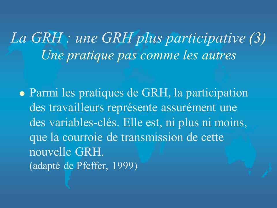 La GRH : une GRH plus participative (3) Une pratique pas comme les autres l Parmi les pratiques de GRH, la participation des travailleurs représente a