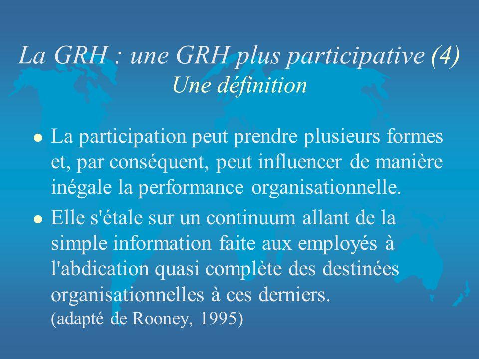 La GRH : une GRH plus participative (4) Une définition l La participation peut prendre plusieurs formes et, par conséquent, peut influencer de manière