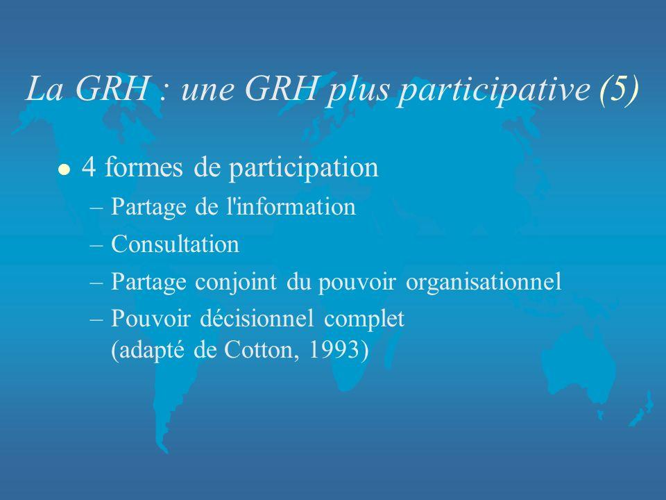 La GRH : une GRH plus participative (5) l 4 formes de participation –Partage de l'information –Consultation –Partage conjoint du pouvoir organisationn