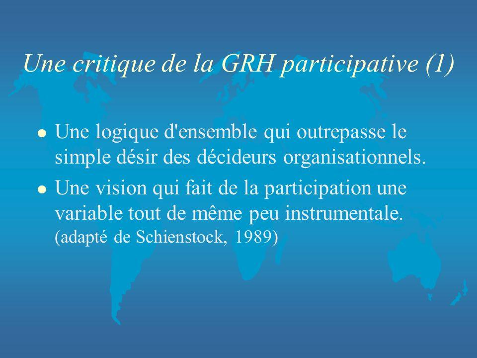 Une critique de la GRH participative (1) l Une logique d'ensemble qui outrepasse le simple désir des décideurs organisationnels. l Une vision qui fait