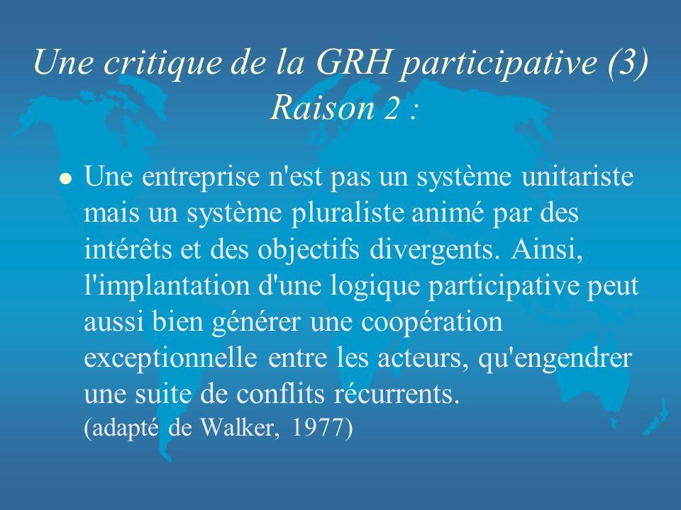 Une critique de la GRH participative (3) Raison 2 : l Une entreprise n'est pas un système unitariste mais un système pluraliste animé par des intérêts