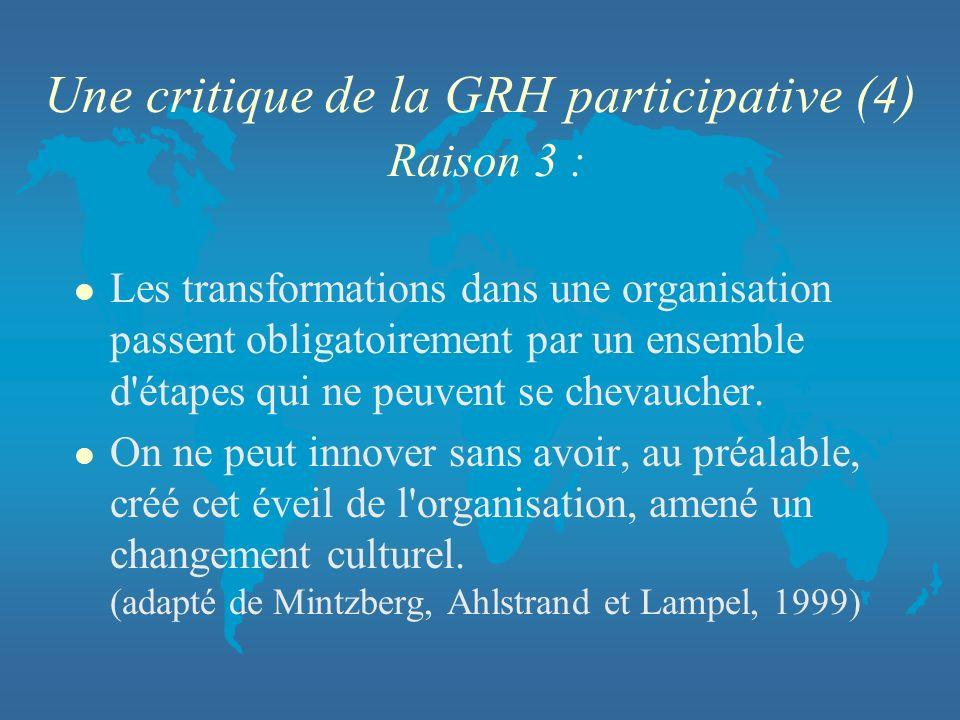 Une critique de la GRH participative (4) Raison 3 : l Les transformations dans une organisation passent obligatoirement par un ensemble d'étapes qui n