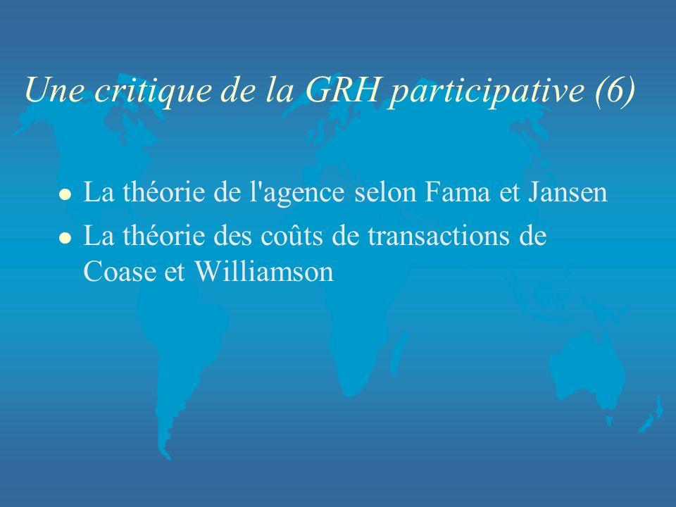 Une critique de la GRH participative (6) l La théorie de l'agence selon Fama et Jansen l La théorie des coûts de transactions de Coase et Williamson