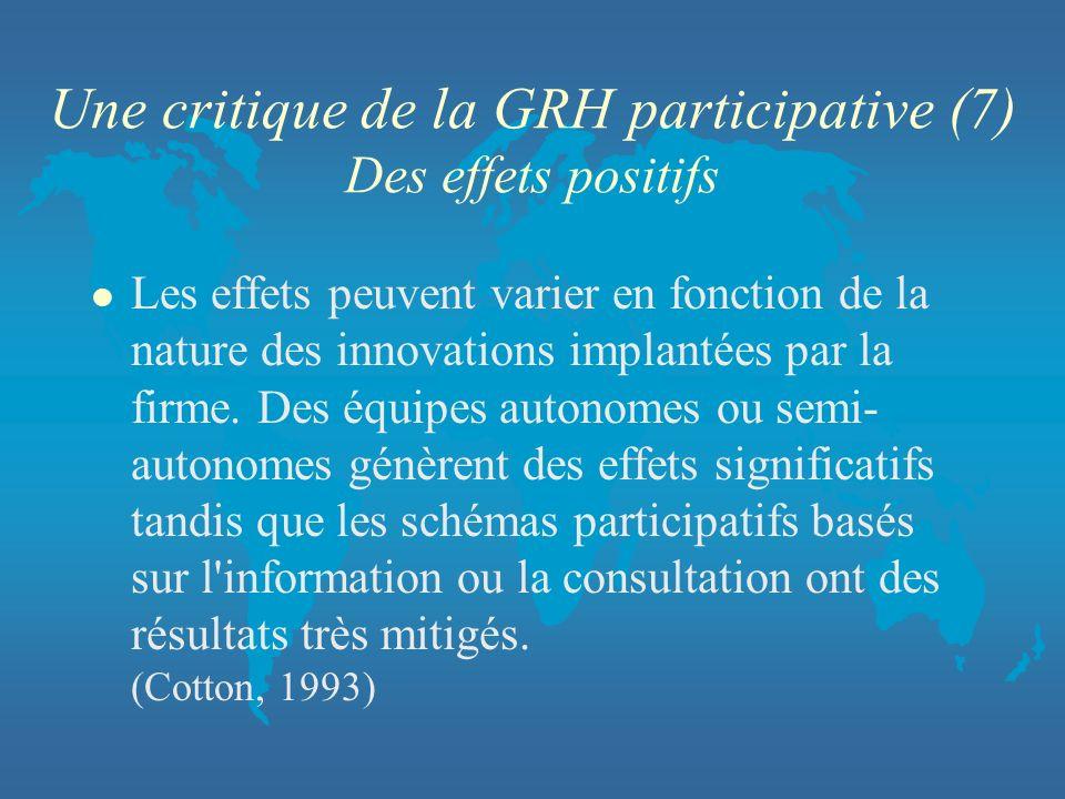 Une critique de la GRH participative (7) Des effets positifs l Les effets peuvent varier en fonction de la nature des innovations implantées par la fi