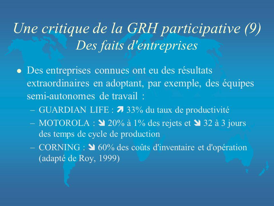 Une critique de la GRH participative (9) Des faits d'entreprises l Des entreprises connues ont eu des résultats extraordinaires en adoptant, par exemp