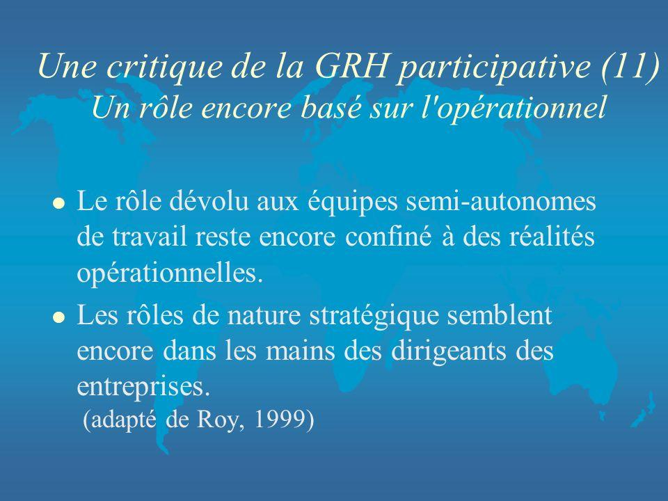 Une critique de la GRH participative (11) Un rôle encore basé sur l'opérationnel l Le rôle dévolu aux équipes semi-autonomes de travail reste encore c