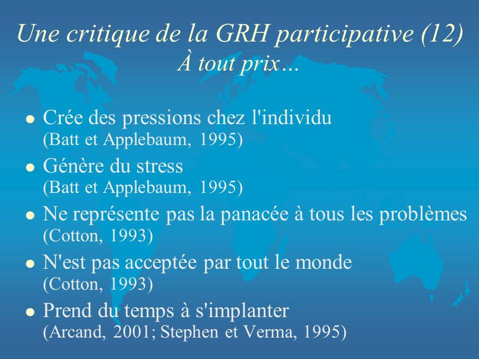 Une critique de la GRH participative (12) À tout prix… l Crée des pressions chez l'individu (Batt et Applebaum, 1995) l Génère du stress (Batt et Appl