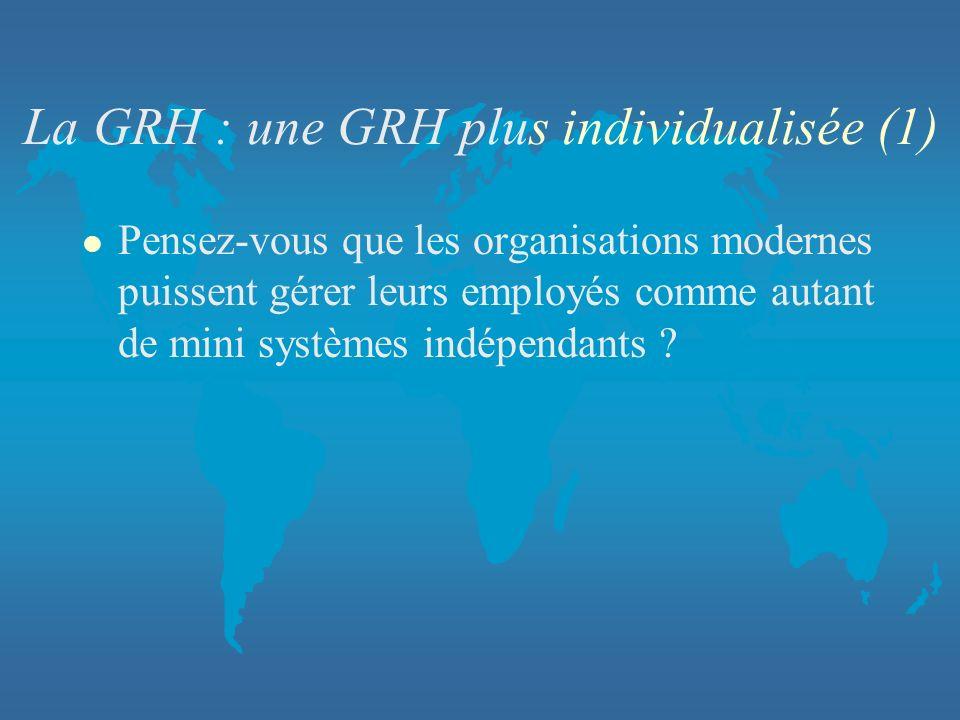 La GRH : une GRH plus individualisée (1) l Pensez-vous que les organisations modernes puissent gérer leurs employés comme autant de mini systèmes indé