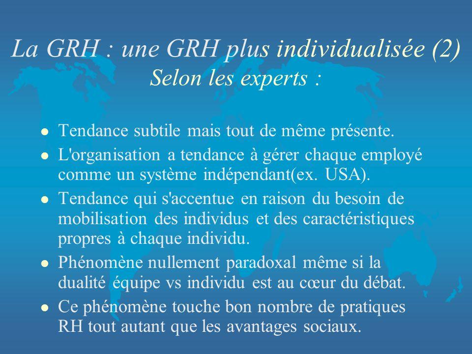 La GRH : une GRH plus individualisée (2) Selon les experts : l Tendance subtile mais tout de même présente. l L'organisation a tendance à gérer chaque