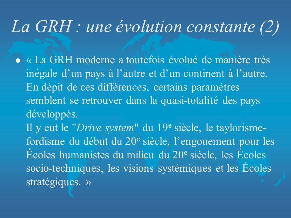 La GRH : une évolution constante (2) l « La GRH moderne a toutefois évolué de manière très inégale dun pays à lautre et dun continent à lautre. En dép