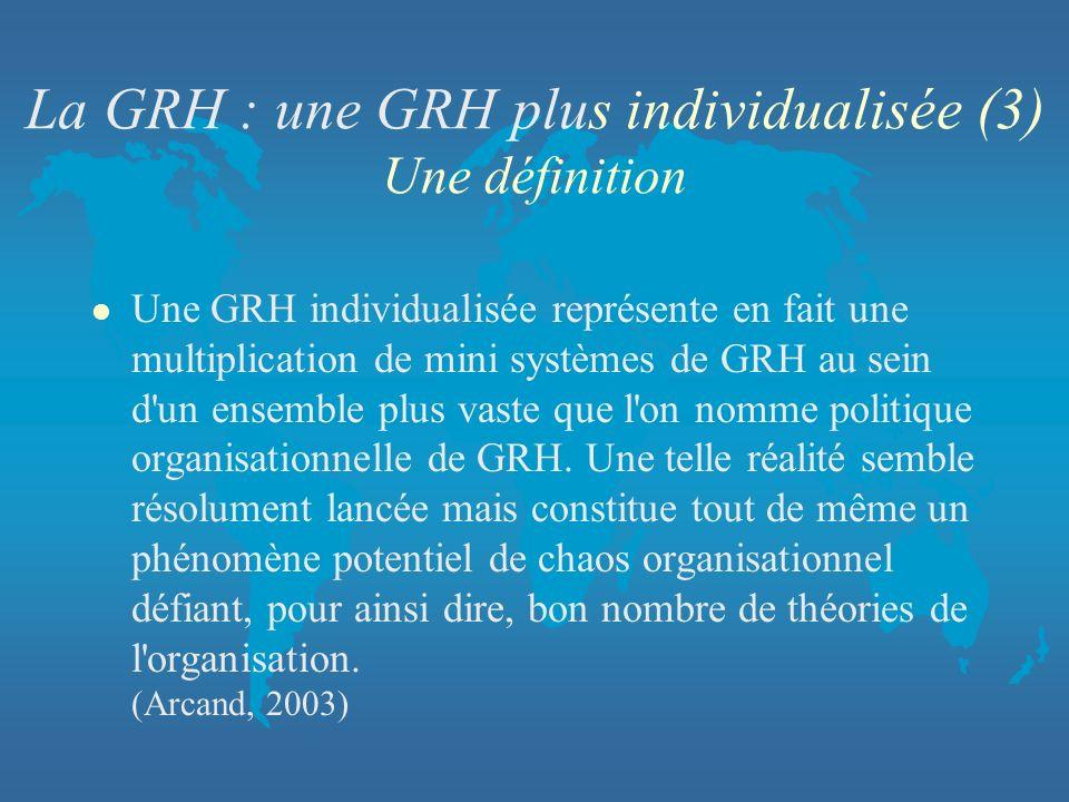La GRH : une GRH plus individualisée (3) Une définition l Une GRH individualisée représente en fait une multiplication de mini systèmes de GRH au sein