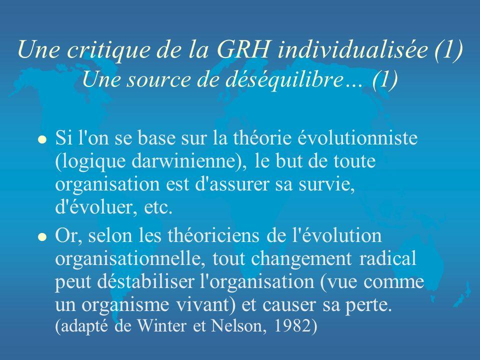 Une critique de la GRH individualisée (1) Une source de déséquilibre… (1) l Si l'on se base sur la théorie évolutionniste (logique darwinienne), le bu