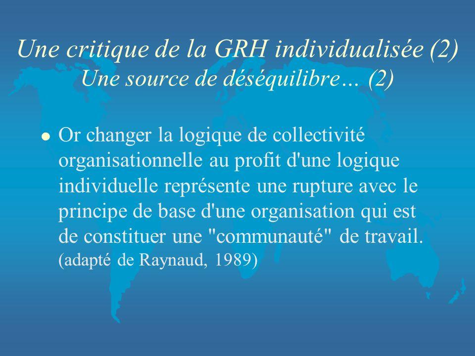 Une critique de la GRH individualisée (2) Une source de déséquilibre… (2) l Or changer la logique de collectivité organisationnelle au profit d'une lo