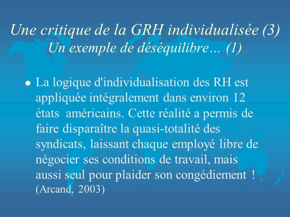 Une critique de la GRH individualisée (3) Un exemple de déséquilibre… (1) l La logique d'individualisation des RH est appliquée intégralement dans env