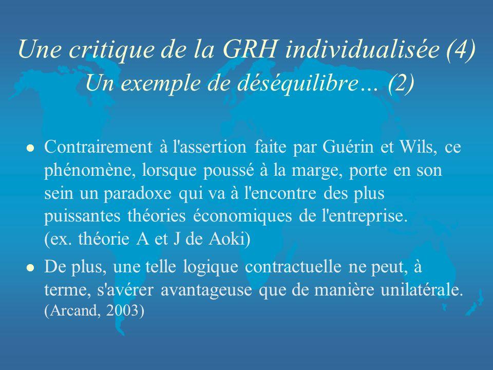 Une critique de la GRH individualisée (4) Un exemple de déséquilibre… (2) l Contrairement à l'assertion faite par Guérin et Wils, ce phénomène, lorsqu