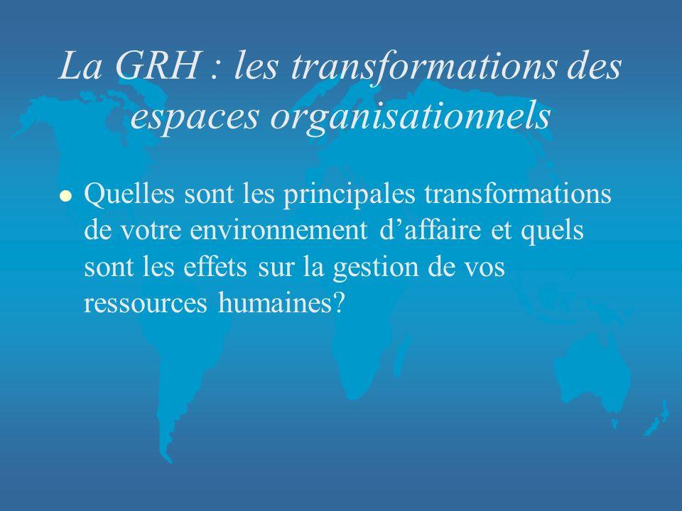 La GRH : les transformations des espaces organisationnels l Quelles sont les principales transformations de votre environnement daffaire et quels sont