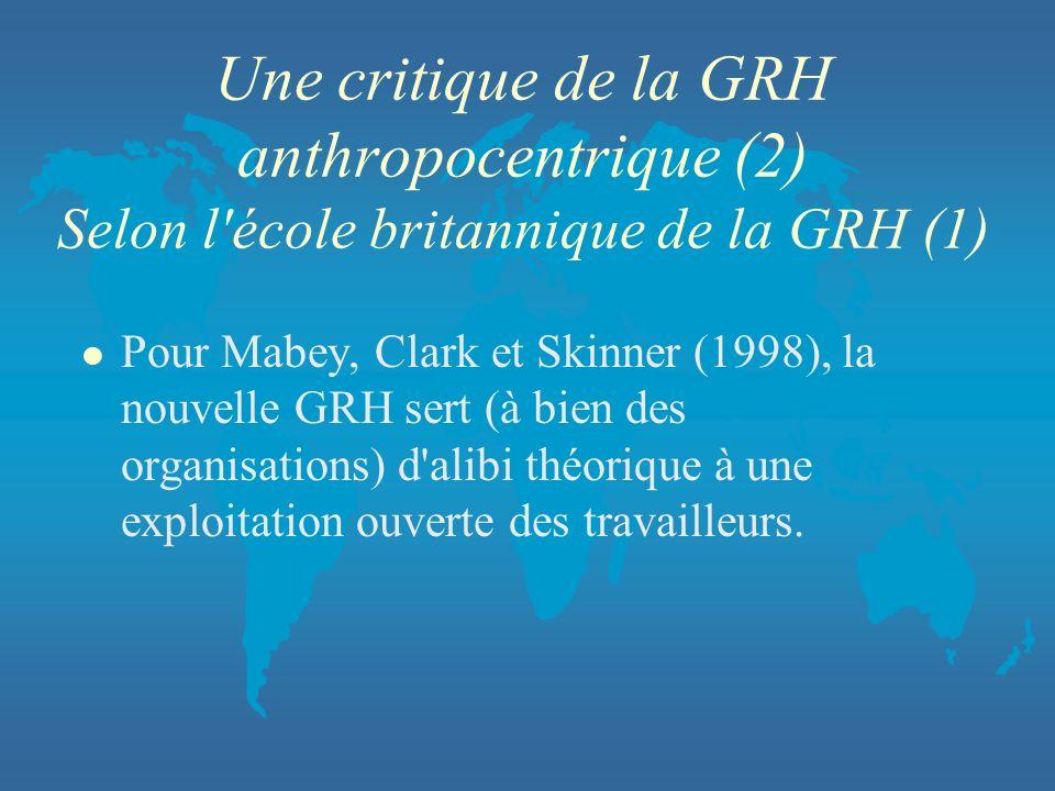 Une critique de la GRH anthropocentrique (2) Selon l'école britannique de la GRH (1) l Pour Mabey, Clark et Skinner (1998), la nouvelle GRH sert (à bi
