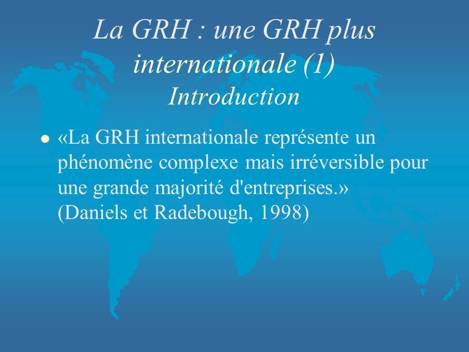 La GRH : une GRH plus internationale (1) Introduction l «La GRH internationale représente un phénomène complexe mais irréversible pour une grande majo