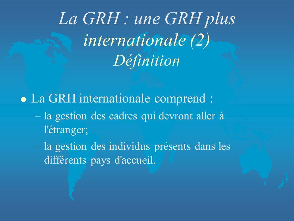 La GRH : une GRH plus internationale (2) Définition l La GRH internationale comprend : –la gestion des cadres qui devront aller à l'étranger; –la gest